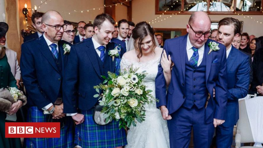 Therapy team help dad with cancer walk daughter down aisle - BBC News